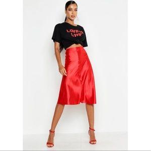 Red Satin Midi Skirt